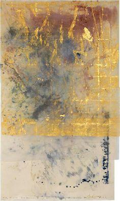 Makoto Fujimura Le Poisson Rouge Collaboration with Molly Morkoski, Messiaen 2012 Mineral Pigments and Gold on Silk and Kumohada over Board
