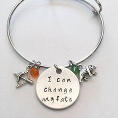 I Can Change My Fate Merida Disney Princess Brave Inspired Hand Stamped Adjustable Bangle Charm Bracelet #icanchangemyfate #merida #brave #disney #princessinspired #handstamped #adjustablebangle #charmbracelet