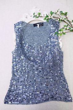 Korean Women Fashion Rio Collection Crochet sequin sleeveless Top L | eBay