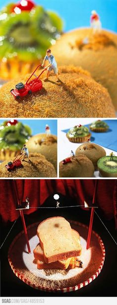 Mini-world made with tiny toys and food