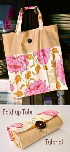Fold up tote bag. Would be cool to use for reusable shopping bags Fold up tote bag. Would be cool to use for reusable shopping bags Sewing Hacks, Sewing Tutorials, Sewing Crafts, Sewing Projects, Sewing Patterns, Sewing Diy, Tote Bag Tutorials, Basic Sewing, Diy Sac