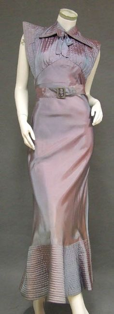 Iridescent taffeta evening gown with belt and quilted (trapunto) collar, bodice, and hem, c. 1930's.
