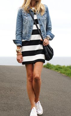 black + white striped dress / denim jacket / Converse // 24 Ways to Wear a Dress or Skirt with a Denim Jacket/Vest. Make the dres a little longer and it would be a perfect tween outfit! Stylish Summer Outfits, Spring Outfits, Casual Outfits, Cute Outfits, Spring Shoes, Modest Outfits, Casual Summer, Dress Outfits, Outfits With Converse