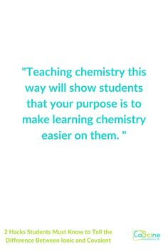 You will love this teaching hack that makes understanding ionic and covalent so easy for students. In fact, you can color code to help, but all students need to do is look at a periodic table for 2 seconds and they will know the answer. High school and homeschool students love this tip for teaching chemistry. #ioniccovalent High School Chemistry, Teaching Chemistry, Chemical Equation, To Tell, Middle School, Periodic Table, Homeschool, About Me Blog