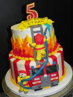 maybe if grandma were here to make it:) orange firetruck cake Firefighter Birthday Cakes, Fireman Cake, Fireman Birthday, 3rd Birthday, Birthday Ideas, Food Cakes, Cupcakes, Cupcake Cakes, Fire Fighter Cake