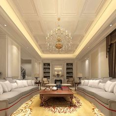 symmetrical- i don't like the color scheme, but everything is balanced out well. House Ceiling Design, Ceiling Design Living Room, Living Room Interior, Living Room Designs, Aesthetic Room Decor, Independent House, Luxury Interior Design, Modern House Design, Luxury Living
