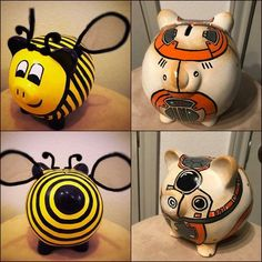 Paper Mache Projects, Personalized Piggy Bank, Piggy Banks, Money Box, Pigs, Bee, Arts And Crafts, Clay, Ideas