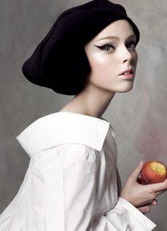 Coco Rocha gets a Vermeer-style makeover, September 2007.  Steve Meisel