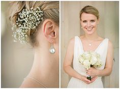 Wedding photo of bride with flowers • Hochzeitsfotografie Braut mit Haarschmuck aus Schleierkraut und Brautstrauß © Hochzeitsfotograf Berlin hochzeitslicht