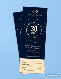 This anniversary ticket template screams for class and sophistication. Stars and other shapes dominate the entire design, perfect for anniversaries of any kind. The template can also be customized to your personal business needs. Ticket Design, Event Poster Design, Microsoft Publisher, Microsoft Word, Concert Ticket Template, Event Branding, Boyfriend Anniversary Gifts, Advertising Design, Invitation Design