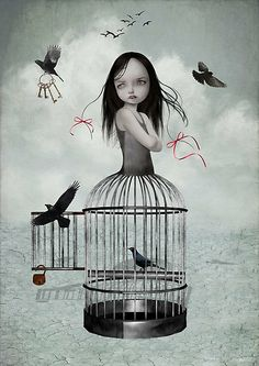 Pop Surrealism Art Print - Birdcage Girl & Birds - The One They Left Behind