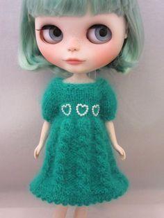 Blythe - Wonderful soft angora dress for your Blythe doll - handmade - hand knitted - Custom Blythe