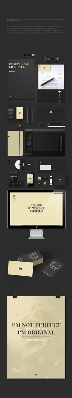 The color combination of black and light gold characterize this branding as very modern and clean. Corporate Design, Brand Identity Design, Stationery Design, Corporate Identity, Graphic Design Typography, Business Branding, Visual Identity, Branding Design, Logo Design