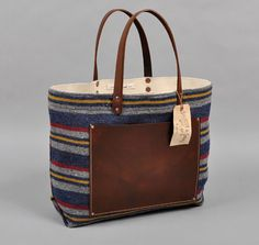STANLEY & SONS: The Hill-Side Blanket Lining Stripe Tote, Grey / Navy / Red / Yellow, Hickoree's Exclusive