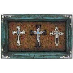 Teal Three Cross Plaque | Shop Hobby Lobby