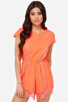 Center Stage Neon Orange Lace Romper at LuLus.com!