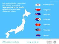 Las oportunidades comerciales que atiende la Consejería Agropecuaria Japón abarca: Corea del Sur, Singapur, Australia, Filipinas, Vietnam, Malasia y Tailandia. SAGARPA SAGARPAMX #MéxicoSiembraÉxito