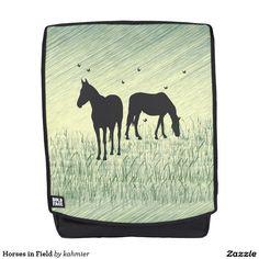 Horses in Field Back