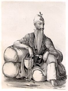 The last Indian 'owner' of the Koh-i-noor - Maharajah Ranjeet Singh, by Jivan Ram, 1832. Lithograph of watercolor and pencil original, 14.7 x 10.6 cm. (Courtesy - Rita and Gurinder Singh Mann.; photo - Library, University of Berkeley.)