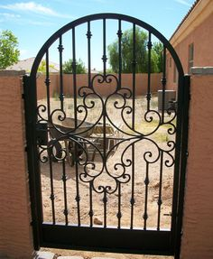 Courtyard Gates : Great Gates and Whiting Iron in Phoenix AZ Front Entry Decor, Main Entrance Door, Wrought Iron Gate Designs, Wrought Iron Doors, Courtyard Entry, Custom Gates, Wooden Gates, Metal Fence, Iron Work