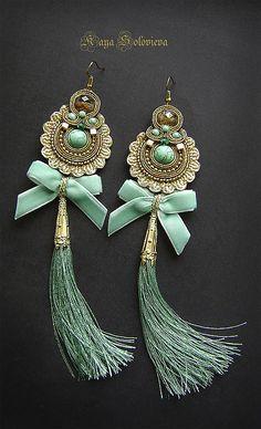 """Купить Серьги """"Golden time"""" - голубой, бирюзовый, винтаж, винтажные серьги, Длиные серьги, кисть Feather Jewelry, Tassel Jewelry, Soutache Jewelry, Fabric Jewelry, Jewelery, Beaded Earrings, Crochet Earrings, Handmade Beaded Jewelry, How To Make Beads"""