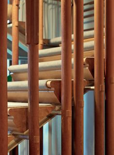 I don't usually repost other people's photos, but this detail shot of the legendary staircase at Villa Mairea by was too… Bamboo Building, Stair Detail, Wood Architecture, Architectural Photographers, Famous Architects, Aldo Rossi, Alvar Aalto, Design Blog, Mid Century House