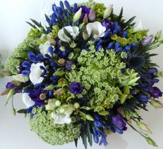 bridal bouquet of Ammi, Lisianthus, Agapanthus, Eryngium and Eupohorbia