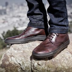 Hydrogen - Wingtip lace up boots with rubber sole