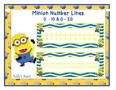 Minion Number LinesThis is a set of number lines. One includes the numbers 0 - 10 and the other the numbers 0 - 20. Number lines are used as a strategy to add and subtract. They can also be used to teach what number comes before or after another number.