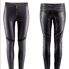 Faux leather pants girl with dragon tattoo x h&m Sold out limited fake leather leggings. Worn once or twice  bought the wrong size. Size 6 H&M Pants Leggings