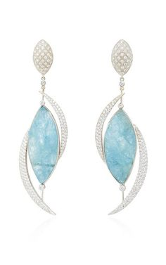 14k white gold, raw aquamarine and diamond earrings by JORGE ADELER for Preorder on Moda Operandi