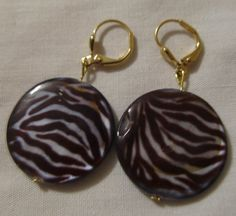 Earrings  Zebra MOP Handmade There's a Fine Line by CraftyChic90, $3.50