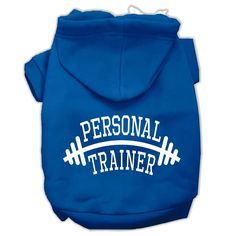 Personal Trainer Screen Print Pet Hoodies Blue Size Med (12)