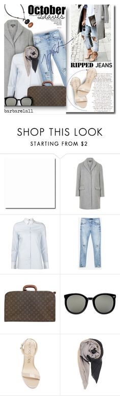 """""""Style This Trend: Ripped Jeans"""" by barbarela11 ❤ liked on Polyvore featuring Topshop, ADAM, Zara, Louis Vuitton, Karen Walker, BeckSöndergaard, Burton, rippedjeans, polyvoreeditorial and polyvoretopics"""