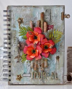 Travel Journal by Emma Williams - created with products from Tim Holtz and Sizzix Travel Journal Pages, Journal Covers, Art Journal Pages, Art Journals, Junk Journal, Notebook Covers, Journal Notebook, Mixed Media Journal, Mixed Media Collage