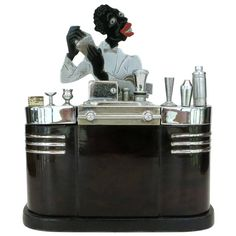 Ronson Art Deco Bartender Touch Tip Cigarette Lighter & Box