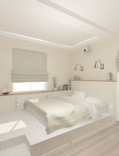 Кровать подиум - отличное решение для малогабаритной спальни.