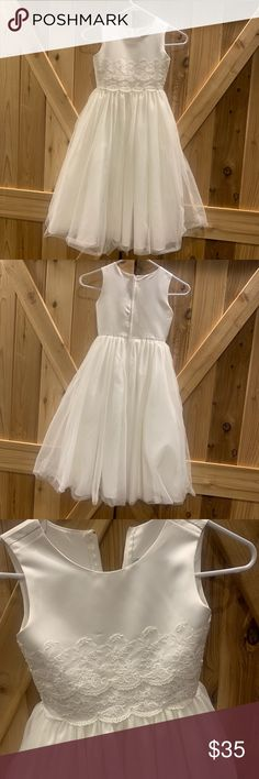 M/&S Christening Communion Baby Girl White Dress Floral Trim Lace Mesh 0-3 Months