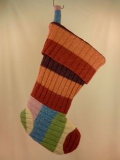 Bulky Knit Ribbed Wool Stocking with Stripes 256