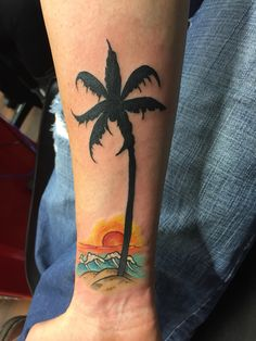 Tropical tattoo  Palm tree tattoo Beach tattoo