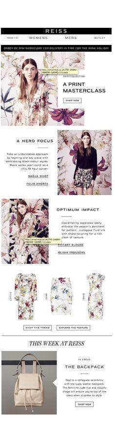 Reiss Pattern Feature newsletter layout graphic design