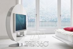 Vision Designer TV Stand in White High Gloss Lacquer by Bonaldo