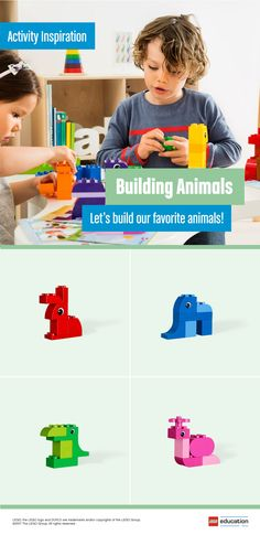Activate your children's imaginations and creative thinking skills by prompting them to choose and build their favorite animals. Ask them to express why they chose that animal, and describe it in three words to incorporate language skill development. Next, have your children sort animals by where they live using images of animals or animals you have in your classroom. Then have them sort animals by family or animal type. Highlight vocabulary words such as habitat, endangered, shelter…