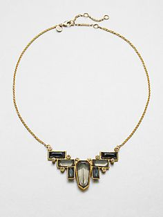 Alexis Bittar White Quartz, Pyrite and Hematite Chain Necklace