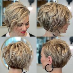 Patrick's day! 🍀 We are headed towards some longer hair for Mrs. She loves the short and sassy, but wan Short Hairstyles For Thick Hair, Haircut For Thick Hair, Short Hair With Layers, Short Hair Cuts For Women, Curly Hair Styles, Long Pixie Hairstyles, Simple Hairstyles, Hairstyle Short, Short Wavy