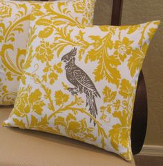 I am fussy about yellow, but like it with Taupe or Navy.  Yellow, Taupe and White Bird Throw Pillow Cover.