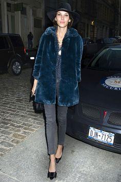 Alexa Chung in blue fur.