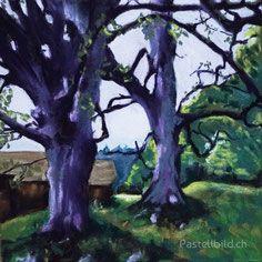 lila Bäume, Baum, Pastellkreide, Kreide, Thea Herzig Flower Painting, Chalk Art, Pastel Painting, Painting, Art, Street Art
