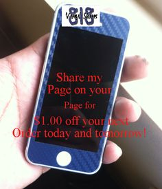 Share my  Page on your  Page for  $1.00 off your next Order today and tomorrow!