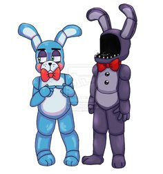 Bonnie and Bonnie by TairusuKU.deviantart.com on @deviantART new Bonnie why do you want to dismantle old bonnie ( that's what they do in the new game )